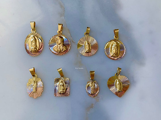 Tri-Color Gold Dipped Saint Medals In 8 Styles On A figaro Chain