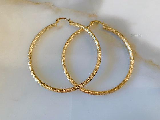 Large Gold Plated Wavy Design Hoop Earrings
