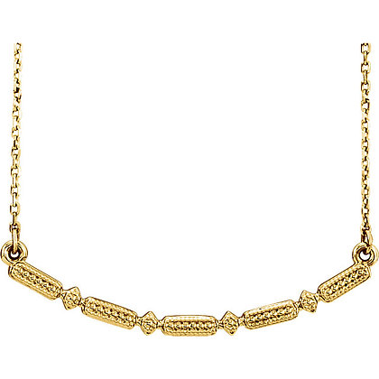 Vintage Style Bar Necklace: Any Color 14K Gold