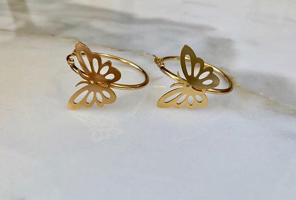 18K Gold Dipped Butterfly Design Hoop Earrings