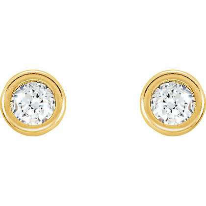 14K Yellow CZ Youth Bezel Stud Earrings