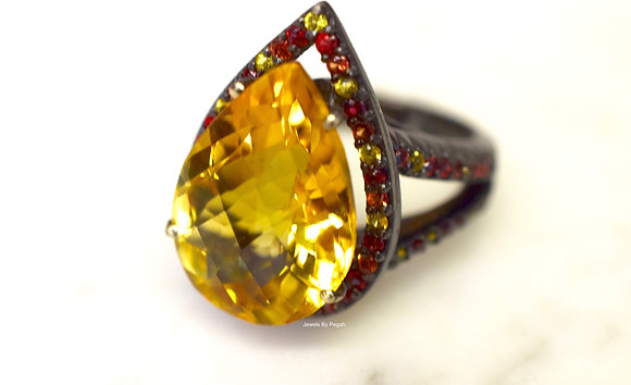 14K Black Gold Pear Shape Citrine And Multicolor Sapphire Ring