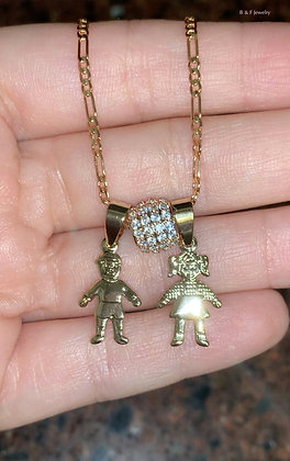 Gold Plated Diamond Inspired Multiple Kids Necklace