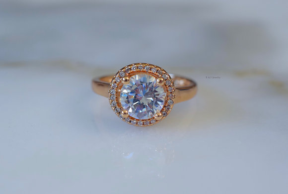 Rose Gold Plated Diamond Inspired Ring