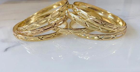 Yellow Gold Plated Star Design 7 Bangle Set