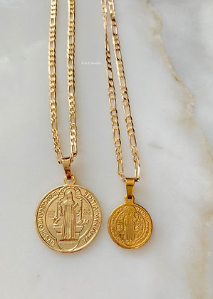 Gold Dipped Saint Benedict Necklaces In 2 Sizes