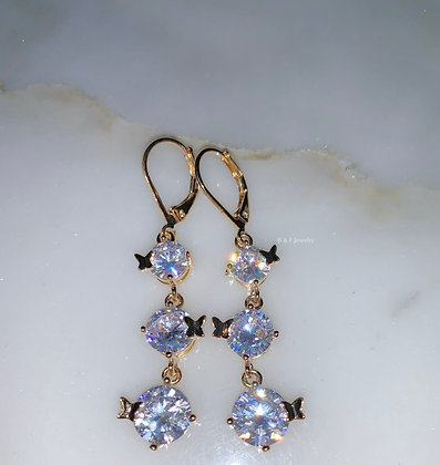 Gold Plated CZ Dangle Earrings