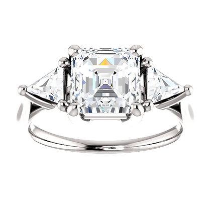14K White Gold 3-Stone White Sapphire Ring