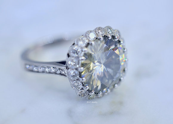 14K White Gold Large Round Moissanite And Diamond Halo Engagement Ring