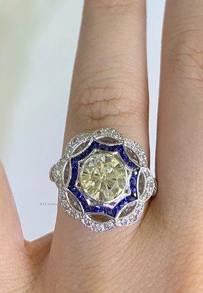 Vintage Style Platinum Diamond And Sapphire Ring