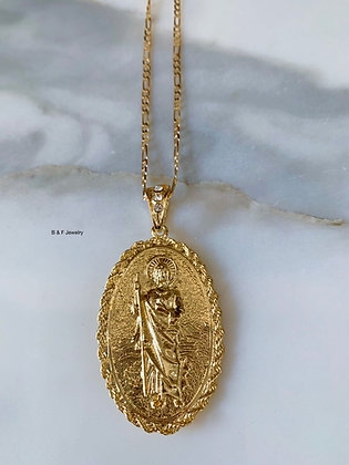 18K Gold Dipped Large Reversible Virgin Mary And Saint Jude Medal on Chain
