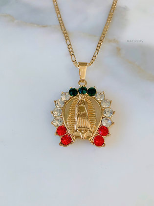 Large Unisex Gold Plated Our Lady of Guadalupe Necklace