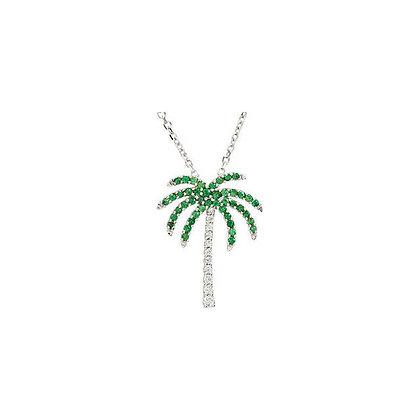 14K White Gold Tsavorite Garnet and Diamond Palm Tree Necklace- Other Variations
