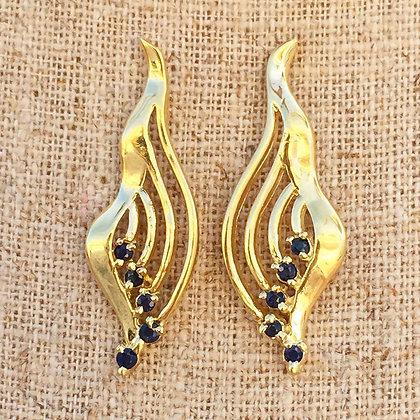 New Vintage 14K Gold Sapphire Earrings