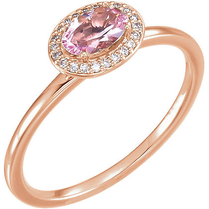 Any Color 14K Gold Oval Morganite And Diamond Ring