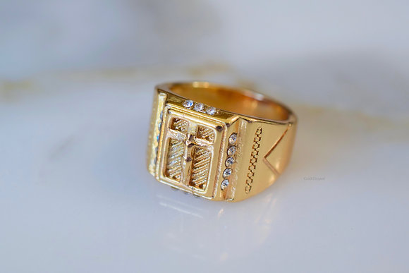 Unisex Gold Plated Crucifix Ring
