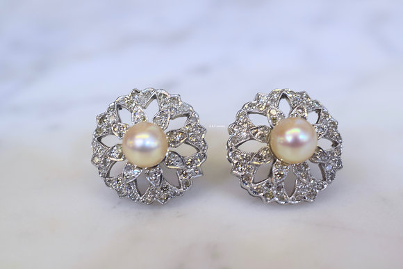 Vintage 18K Gold Pearl And Diamond Earrings