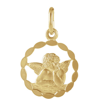 Vintage Style 14K Gold Angel Necklace