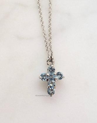 Any Color 14K Gold Sky Blue Topaz Cross Necklace