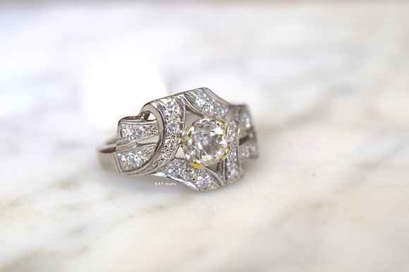 Vintage Palladium Diamond Ring