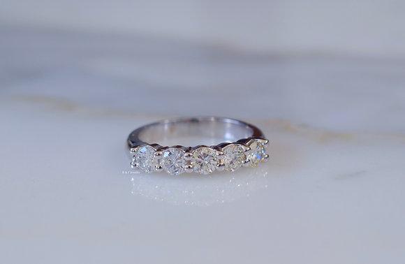 14K White Gold 5 Stone 1.17 Carat Round Diamond Band