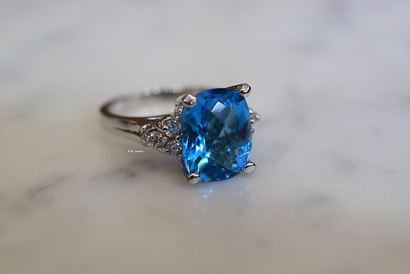 14K White Gold Swiss Blue Topaz And Diamond Ring