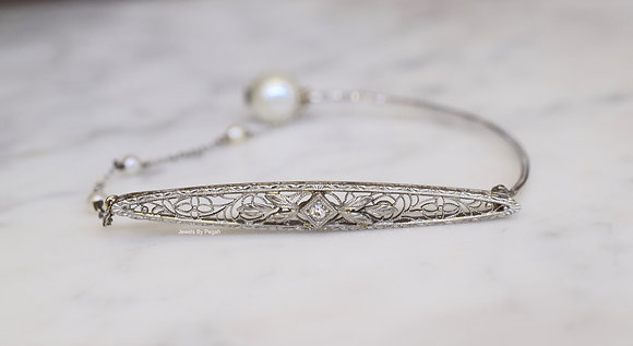 Repurposed Vintage 14K White Gold Pearl And Diamond Bracelet/Bangle