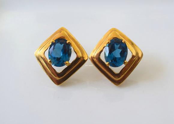 14K Yellow Gold Oval London Blue Topaz Stud Earrings