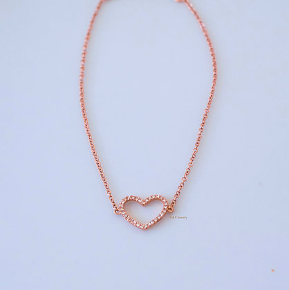 14K Rose Gold Diamond Heart Bracelet