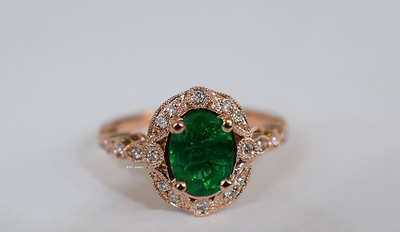 Vintage Style 14K Rose Gold Oval Emerald And Diamond Ring- Has Optional Band