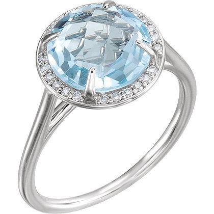 Sky Blue Topaz And Diamond Ring