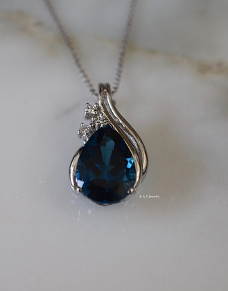 14K White Gold Pear Shape London Blue Topaz And Diamond Necklace