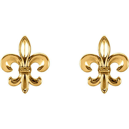 Any Color 14K Gold Fleur-De-Lis Stud Earrings