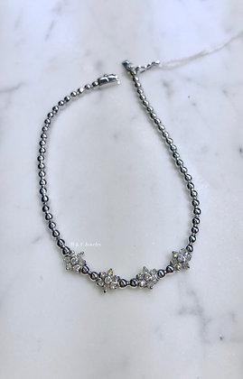 14K White Gold Floral Diamond Bracelet