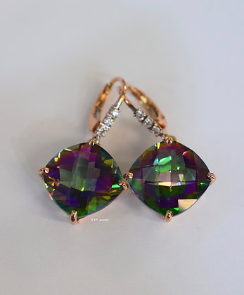 14K Rose Gold 23.38 Carat Mystic Topaz And Diamond Earrings- Has Necklace