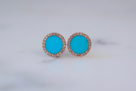 14K Rose Gold Turquoise And Diamond Halo Stud Earrings