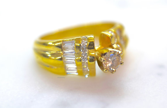 14K Yellow Gold Round And Baguette Diamond Engagement Ring