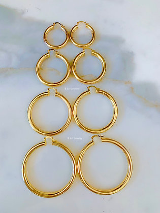 18K Gold Dipped Tube Hoops In Two Sizes
