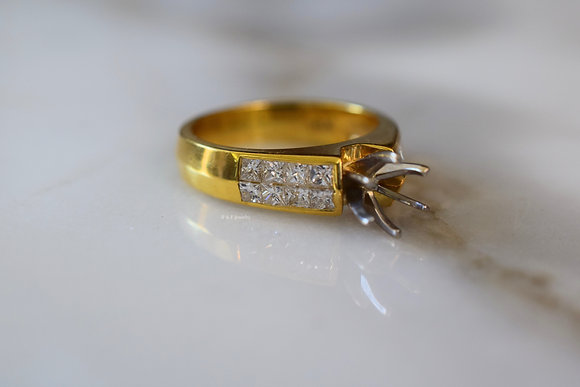 Princess Cut Engagement Ring Setting With 1000s Of Round Center Stones
