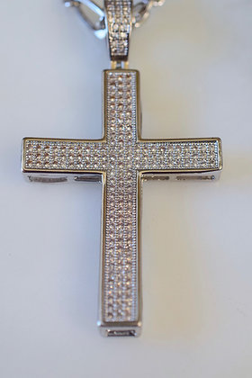 White Gold Plated Large Unisex Diamond Inspired Cross Necklace