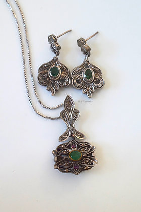 Antique Emerald, Diamond, And Ruby Earrings And Necklace Set