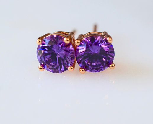 Rose Gold Plated Amethyst Inspired Studs