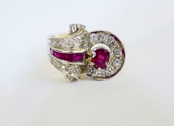 Vintage Platinum And 18K Yellow Gold Ruby And Diamond Ring