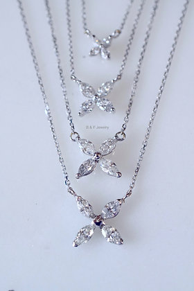 14K White Gold Marquise Diamond Butterfly Necklace