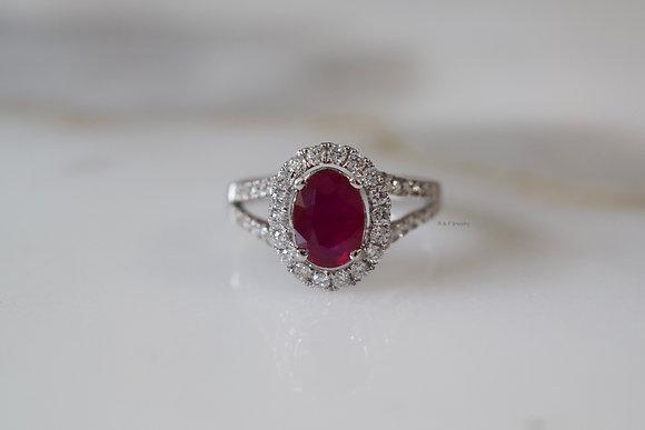 14K White Gold Split Shank Halo Oval Ruby And Diamond Ring