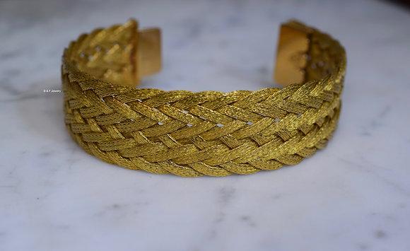 18K Gold Wide Braided Bracelet