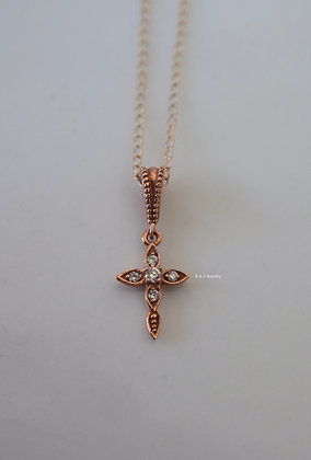 Vintage Style Petite Diamond Cross Necklace In Any Color 14K Gold