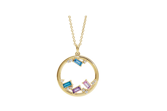 Any Color 14K Gold Baguette 1 to 6 Birthstone Family Necklace