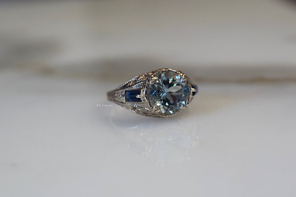 Vintage Style 14K White Gold Aquamarine And Sapphire Ring
