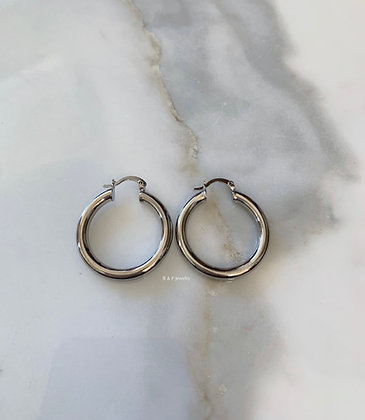 White Gold Dipped Tube Hoops